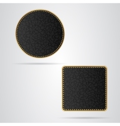 Two leather VIP tag round and square with gold vector image