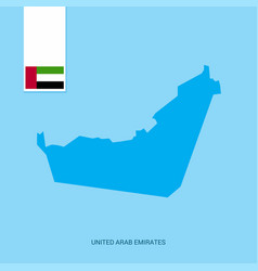 Uae country map with flag over blue background vector