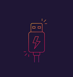 Usb charging plug icon linear vector
