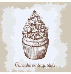 vintage background Hand drawn sweet cupcake c with vector image