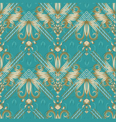 vintage floral striped seamless pattern turquoise vector image