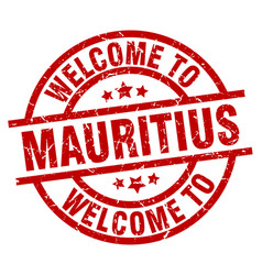 Welcome to mauritius red stamp vector