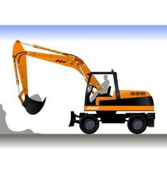 Wheel Excavator vector