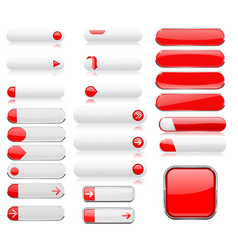 White and red menu buttons interface elements vector