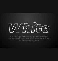 White retro brush alphabet or letter text effect vector