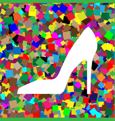 woman shoe sign white icon on colorful vector image