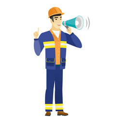Young asian builder making announcement vector