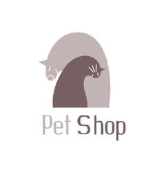 Cat and dog tender embracesign for pet shop logo vector image