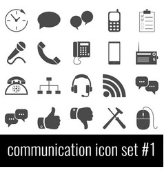 communication icon set 1 gray icons on white vector image