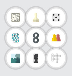 flat icon play set of pawn jigsaw people and vector image