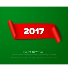 Happy New 2017 Year paper roll banner with vector image