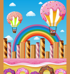 Scene with children flying in candy balloons vector