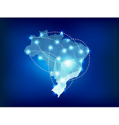 Brazil country map polygonal with spot lights vector image