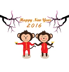Chinese New Year design Cute monkeys vector image