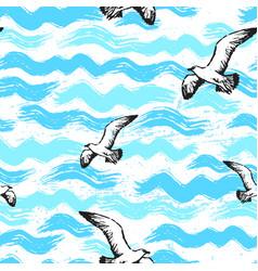 ink hand drawn abstract sea seamless pattern vector image vector image