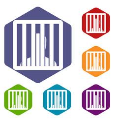 man behind jail bars icons set vector image