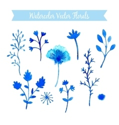 Set of watercolor flowers handmade vector image