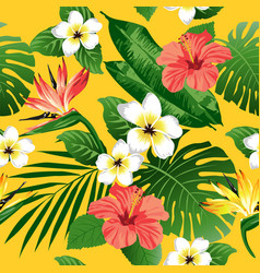 tropical flowers and leaves on yellow background vector image