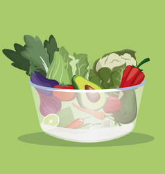 bowl vegetables fresh ingredients vector image vector image