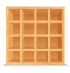 Empty Wooden Shelves Isolated on White Wall vector image vector image