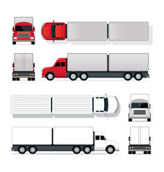 trailer truck red and white vector image vector image