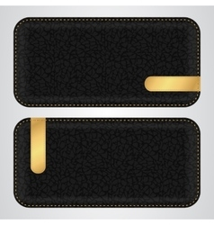 Two black leather horizontal banner with gold VIP vector image