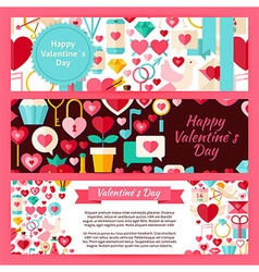 Happy valentine day template banners set in modern vector