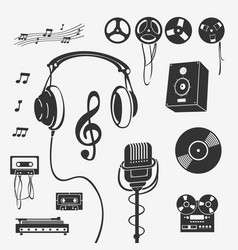 set of symbols musical instrument vector image vector image