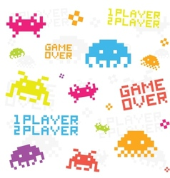 White space invaders pattern vector image vector image