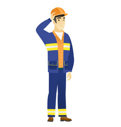 young asian builder scratching his head vector image vector image
