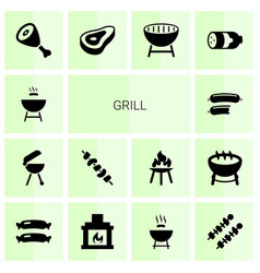 14 grill icons vector
