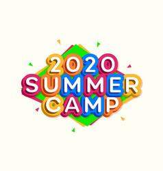 2020 kids summer camp banner cartoon style vector image