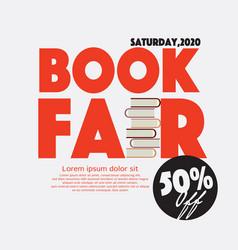 50 percent off book fair festival poster vector image