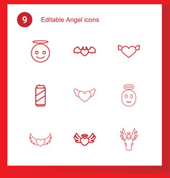 9 angel icons vector