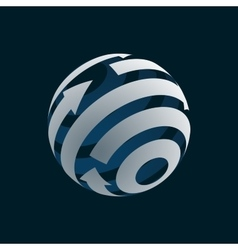 Abstract Globe Logo Element Rotating Arrows vector image