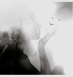 abstract woman face silhouette ink effect forest vector image