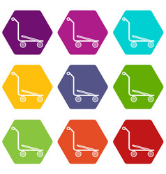 Airport trolley icons set 9 vector