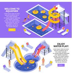Aqua park banners set vector