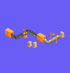 automated factory 3d isometric view on a purple vector image