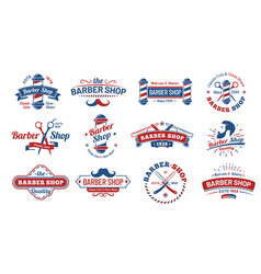 barbershop badges vintage barber label retro vector image
