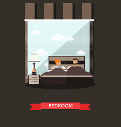 bedroom in flat style vector image