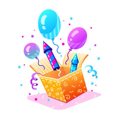 birthday party gift box vector image