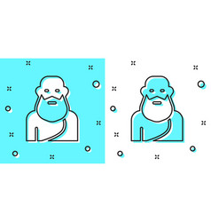 Black line socrates icon isolated on green vector