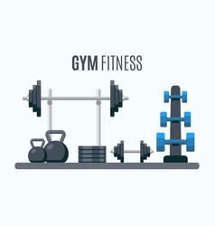 Bodybuilding equipment flat design icons vector