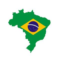 Brazil outline and flag vector