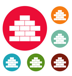 brick wall icons circle set vector image