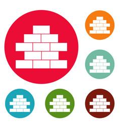 brick wall icons circle set vector image
