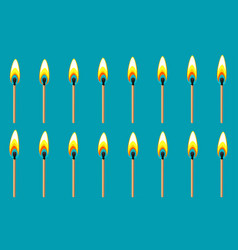 Burning match animation sprite on blue background vector