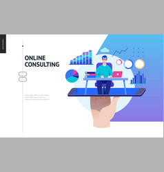 Business series - expert online consulting web vector