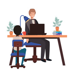 Businessman in office with boy avatar vector